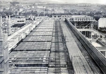 výstavba pavilonu A, pohled do konstrukce - stropy z keramických vložek; foto: 07/1931, zdroj: Muzeum města Ústí n. L.