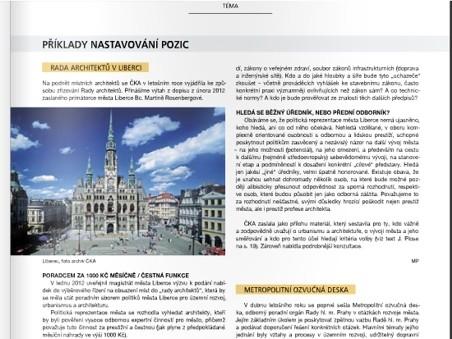 problematice smyslu a nastavení funkce hlavního architekta města se podrobně věnuje aktuální číslo Bulletinu ČKA 3/2012 (str. 17-26)