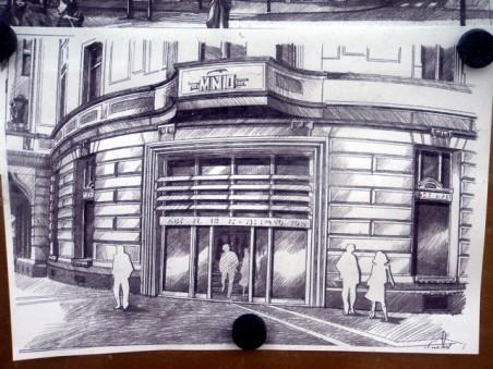 návrh resp. perspektivní kresba arch. L. Kotiše ve vývěsce na domu - foto: Jan Vincenc 03/2011