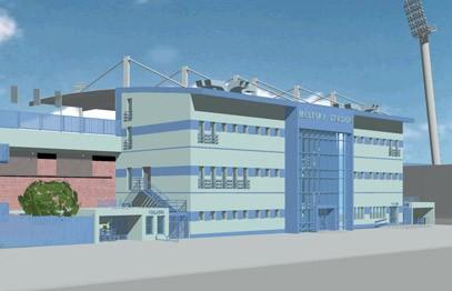 G Design - Stavební úpravy Městského fotbalového stadionu 1. Máje - vizualizace - zdroj: http://gdesign-cz.eu/stavby.php?projekt=Stadion