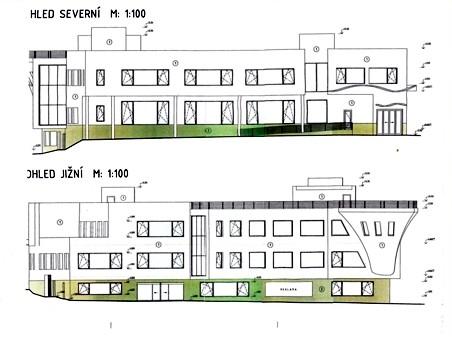 výkres fasád domu pro blok 004 - autor: Real Garant projektový ateliér - Ing. Petr Novotný, David Suchevič - březen 2013