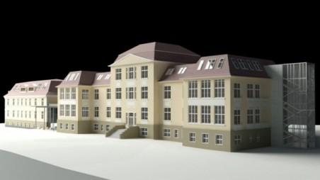 vizualizace návrhu přestavby pavilonů F1 a F2 pro účely Filosofické fakulty, V. Novák (Atelier AVN), stavební povolení 2010; oficiální zahájení stavby 26. 4. 2011